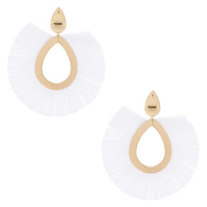 "Gold 4"" Oval Tassel Drop Earrings - White,"
