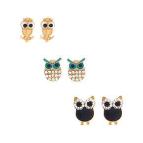 Gold Graduated Owl Stud Earrings - 3 Pack,