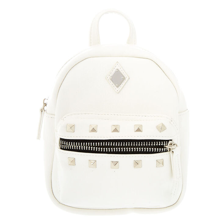 Leather Studded Small Backpack - White,