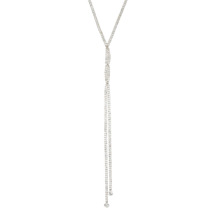 Silver Tone Lariat Necklace,