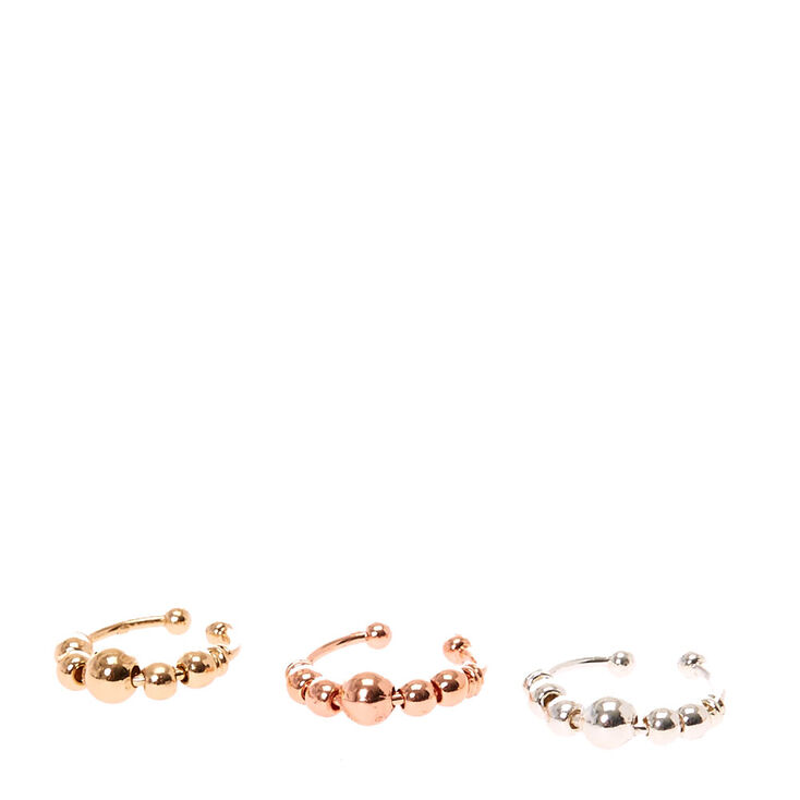 Mixed Metal Toned Faux Nose Hoops,