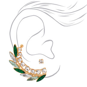 Mismatched Crawler Earring Set - Green,