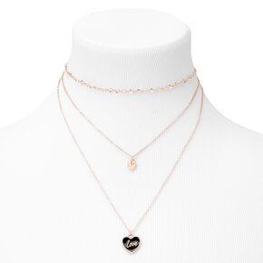Heart Shaped Pendants Multi Strand Necklace - Gold,