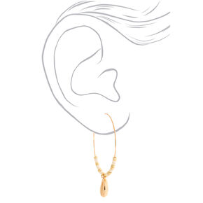 Gold 50MM Cowrie Shell Hoop Earrings,
