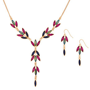 Jewel Tone Leaf Jewelry Set - 2 Pack,