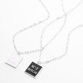 Silver No. 1 & No. 2 Bitch Pendant Necklaces - 2 Pack,