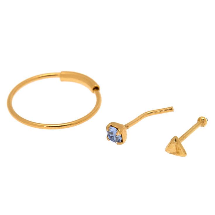 Gold Sterling Silver 22G Aqua Nose Studs & Hoop Set - 3 Pack,