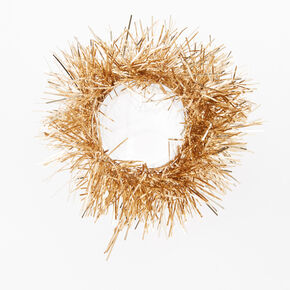 Medium Tinsel Hair Scrunchie - Gold,