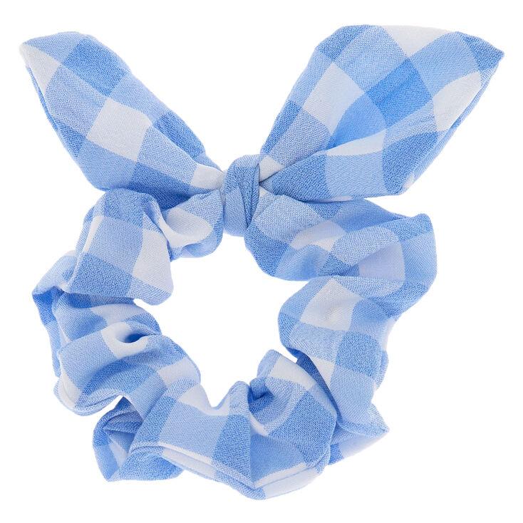 Checkered Tie Scrunchie - Blue,