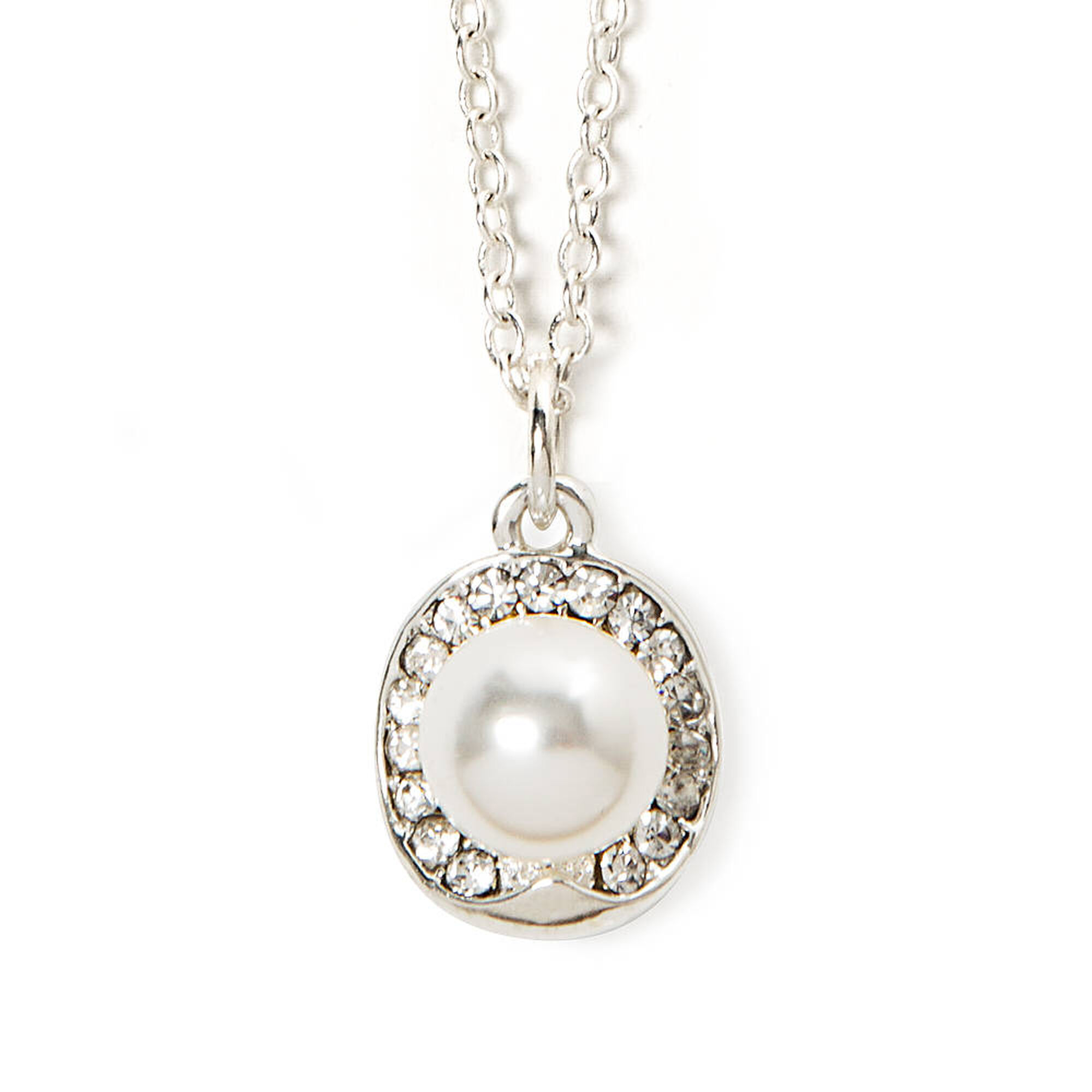 Rhinestone oval pearl solitaire pendant necklace icing us rhinestone oval amp pearl solitaire pendant necklace aloadofball Image collections