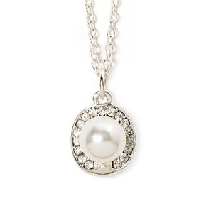 Rhinestone Oval & Pearl Solitaire Pendant Necklace,