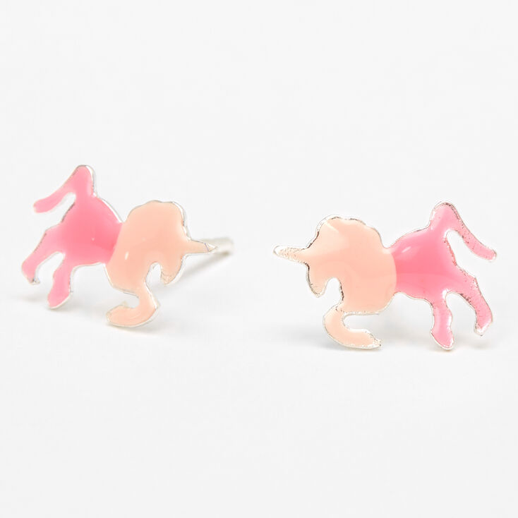 Sterling Silver Ombre Unicorn Stud Earrings - Pink,