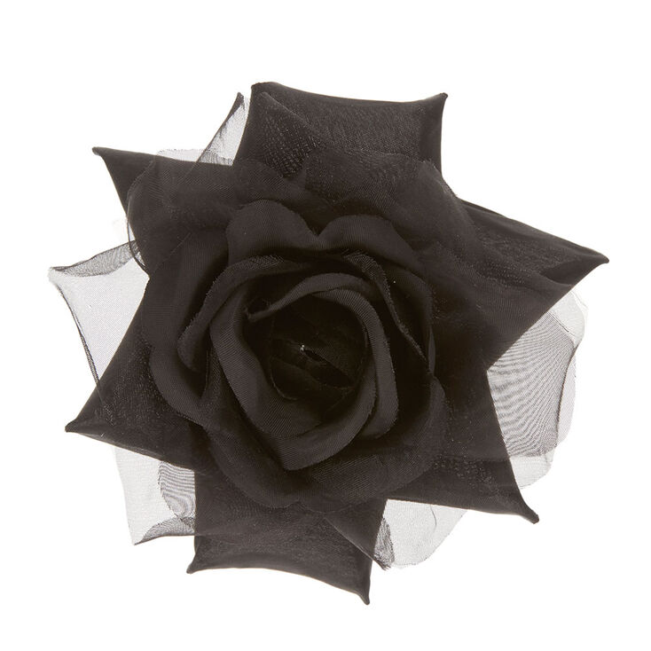 Black Chiffon Rose Hair Clip,