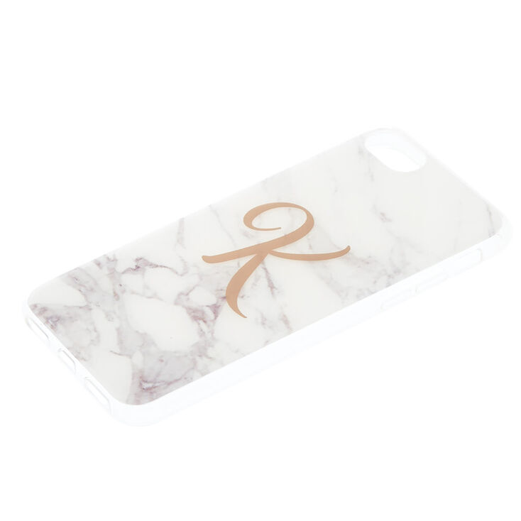 """White Marbled """"K"""" Initial Phone Case - Fits iPhone 6/7/8 Plus,"""
