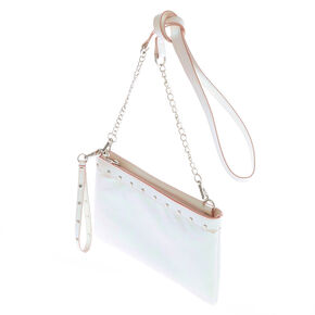 Pink Metallic Sheen Studded Clutch Bag,