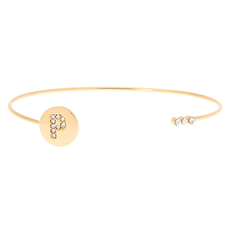 Gold Initial Cuff Bracelet - P,
