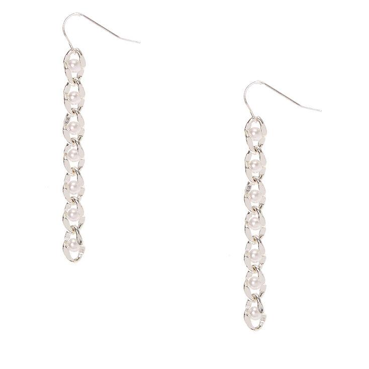 Silver Tone & Pearl Chain Drop Earrings,