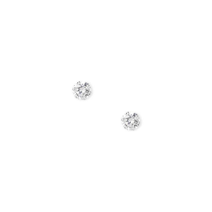 Sterling Silver Cubic Zirconia 8MM Cupcake Stud Earrings,
