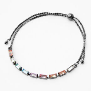 Hematite Rainbow Bar Adjustable Chain Link Bracelet,
