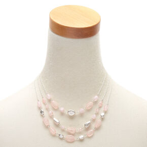Silver Stone Bead Multi Strand Necklace - Pink,