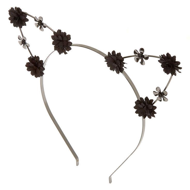 Hematite Flower Girl Cat Ears Headband - Black,