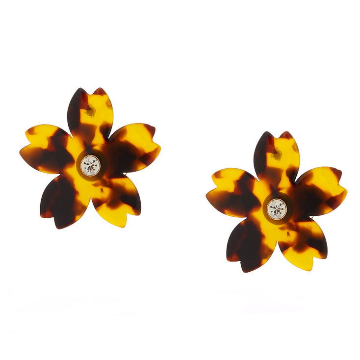 Tortoise Shell Flower Stud Earrings - Brown,