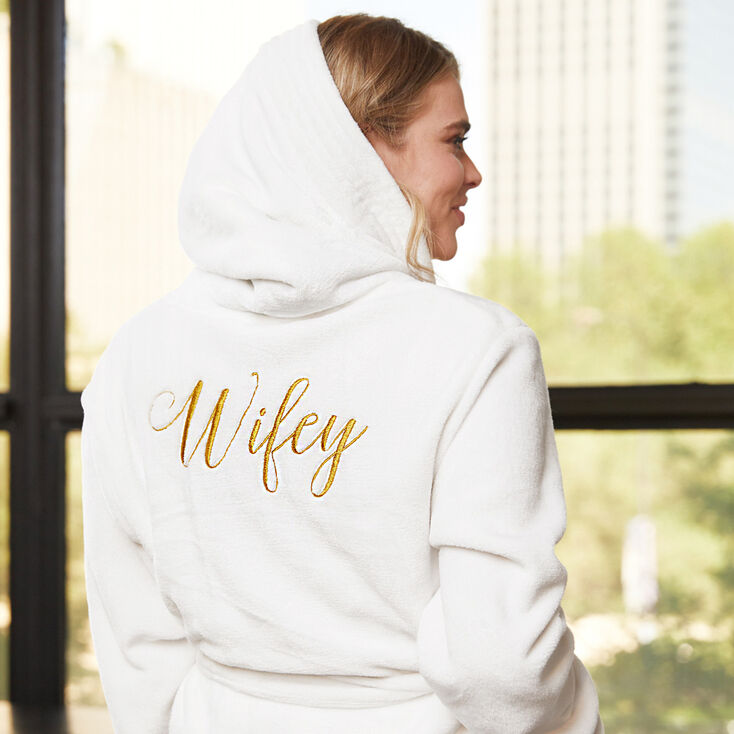 Wifey Plush Robe - White,