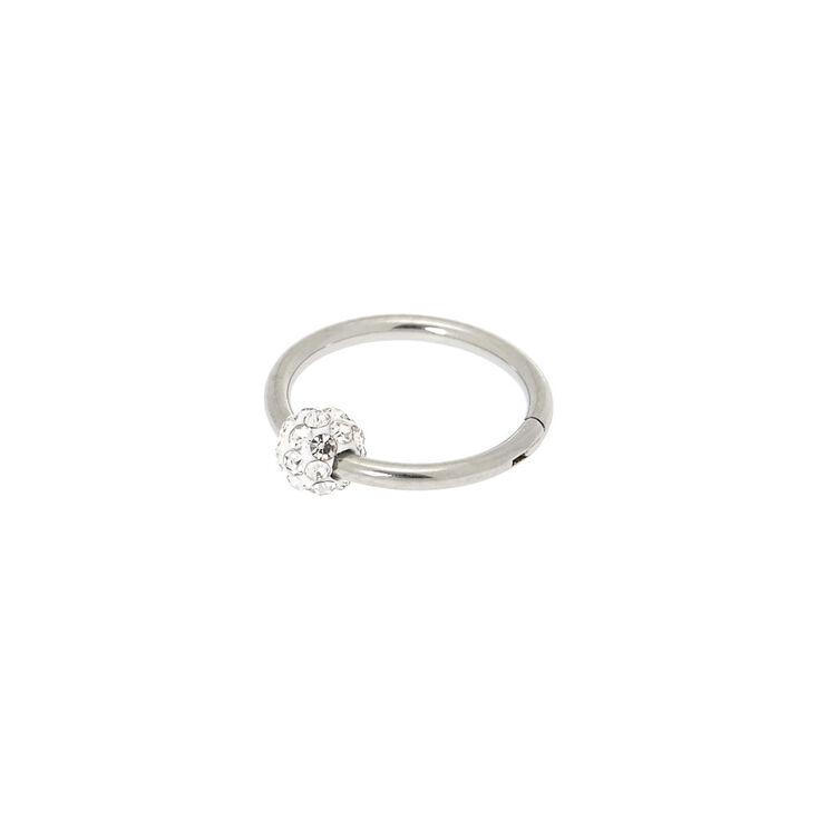Silver 16G Crystal Fireball Cartilage Clicker Hoop Earring,