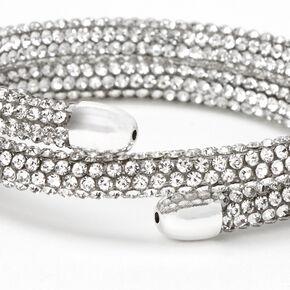 Silver Paved Crystal Coil Wrap Bracelet,