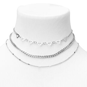 Silver Heart Chain Multi Strand Choker Necklace,