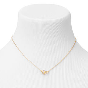 Gold Double Ring Cubic Zirconia Pendant Necklace,