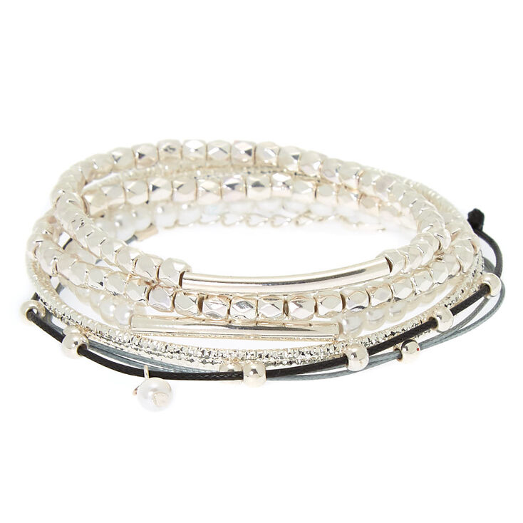 Silver Assorted Texture Bracelets - 8 Pack,