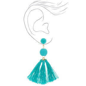 """3"""" Wrapped Tassel Drop Earrings - Turquoise,"""