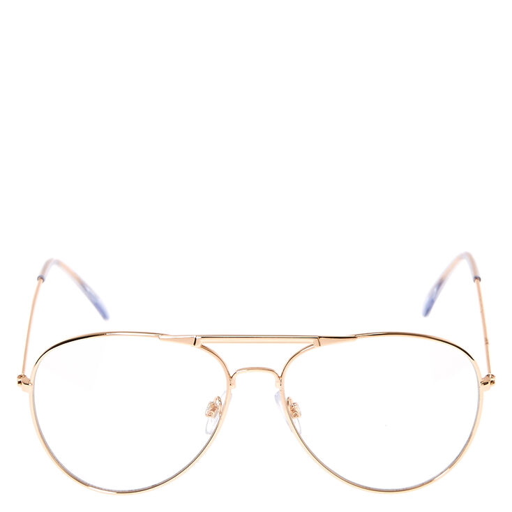 Rose Gold Aviator Clear Lens Frames,