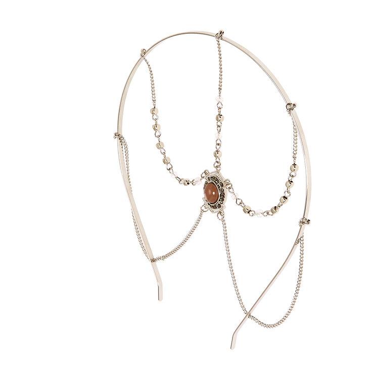 Silver Smokey Stone Head Chain,