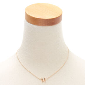 Gold Stone Initial Pendant Necklace - M,