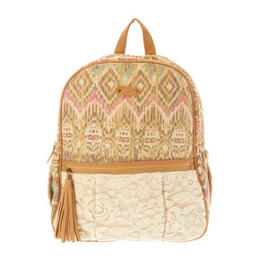 Brown Aztec & Lace Print Backpack,