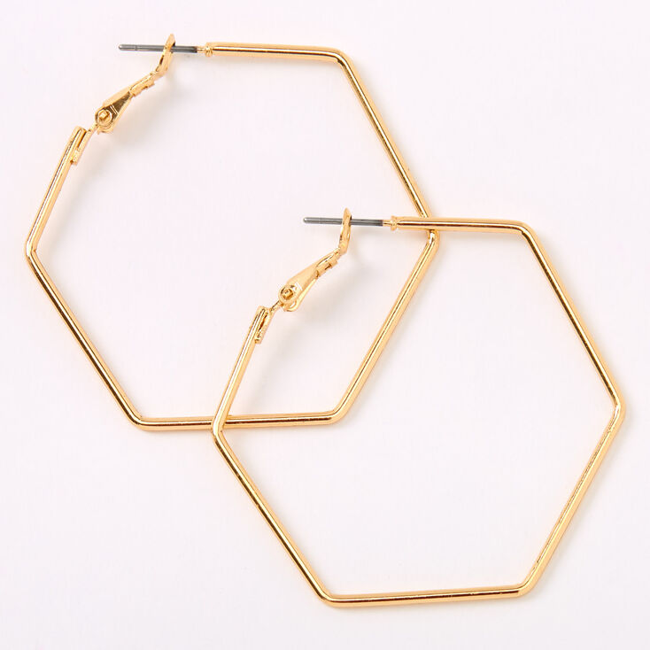 Vintage Style Jewelry, Retro Jewelry Icing Gold 40MM Hexagon Hoop Earrings $5.99 AT vintagedancer.com