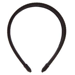Double Row Ribbed Velvet Headband - Black,
