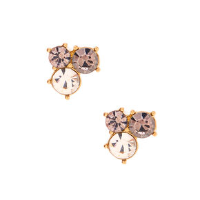 Gold Embellished Cluster Stud Earrings - Gray,
