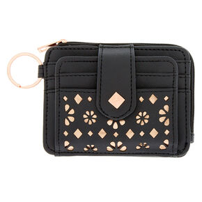 Rose Gold Accent Cutout Coin Purse - Black,