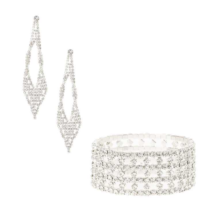 Crystal Stretch Bracelet & Drop Earring Set,