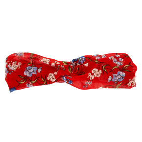 Floral Knot Headwrap - Red,