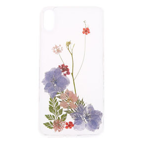 Clear Pressed Flower Glitter Phone Case - Fits iPhone XS Max,