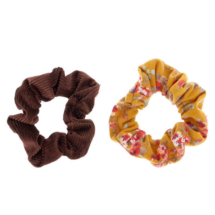 Small Floral Velvet Hair Scrunchies - Mustard, 2 Pack,