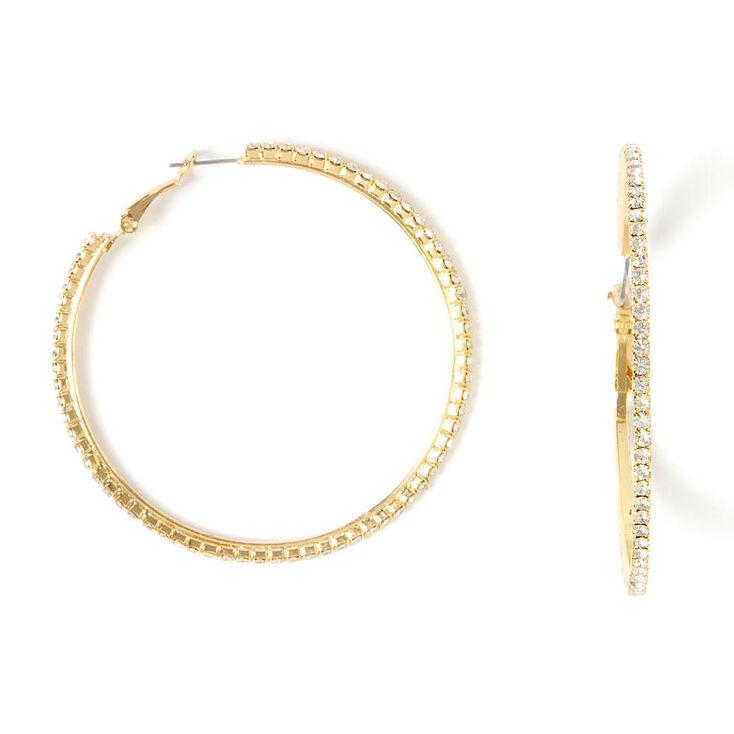 60MM Rhinestone Hoop Earrings,