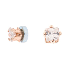 Rose Gold Cubic Zirconia 2MM Round Magnetic Stud Earrings,
