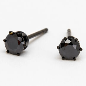 Black Titanium Cubic Zirconia Round Stud Earrings - 4MM,