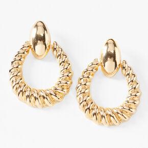 """Gold 1"""" Round Croissant Door Knocker Drop Earrings,"""