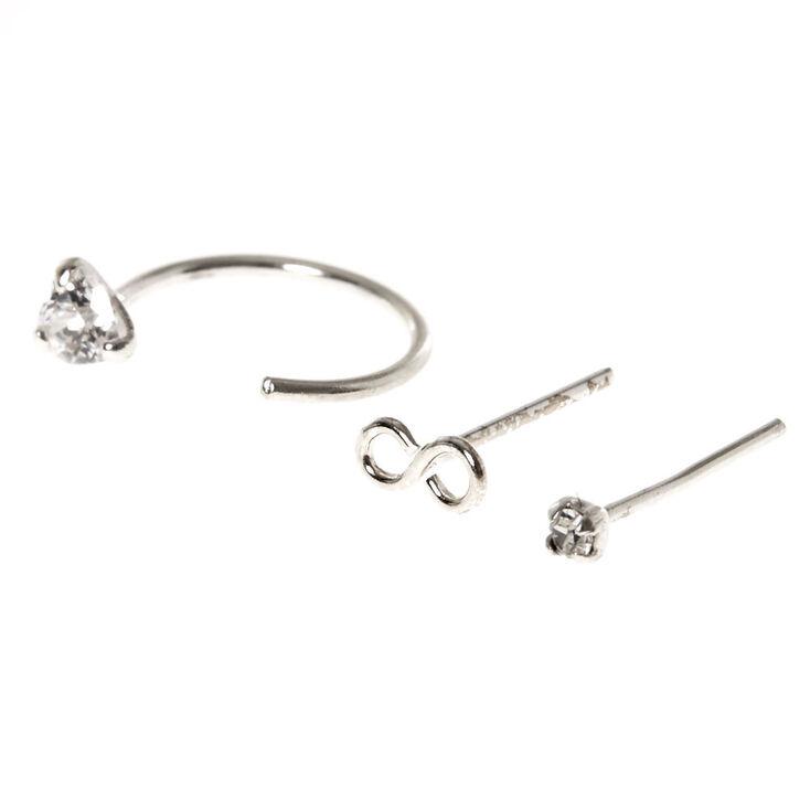 925 Sterling Silver Infinity Nose Studs & Hoop,